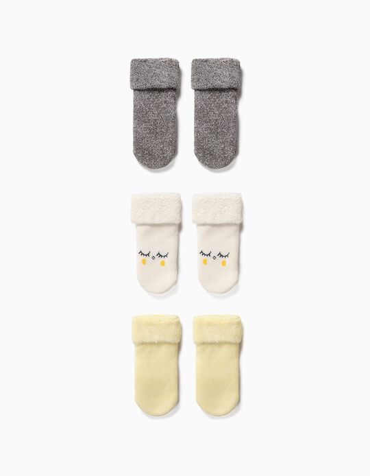3 Pares de Calcetines para Bebé Niña 'Organic Cotton', Multicolor