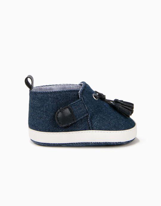 Zapatos de Denim para Recién Nacido con Borlas, Azul