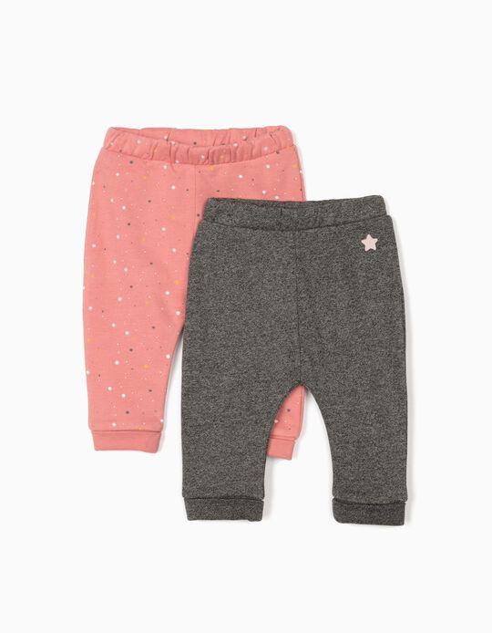 2 Pantalones para Recién Nacida 'Stars', Gris Jaspeado/Rosa