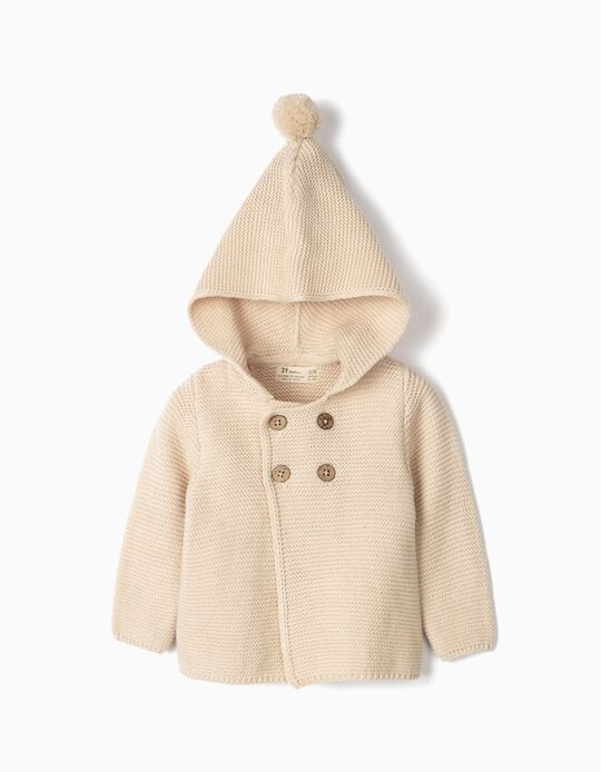 Hooded Knit Jacket for Newborn, Beige