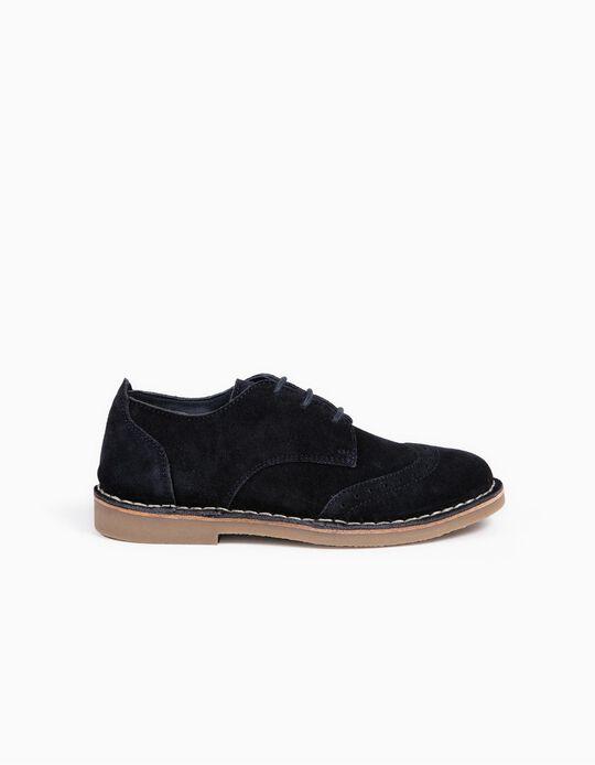 Sapatos de Camurça com Cordões para Menino, Azul Escuro