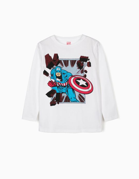 Camiseta de Manga Larga para Niño 'Capitán América', Blanco