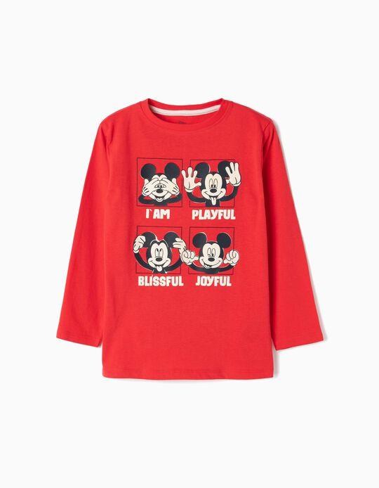 Camiseta de Manga Larga para Niño 'Mickey', Rojo