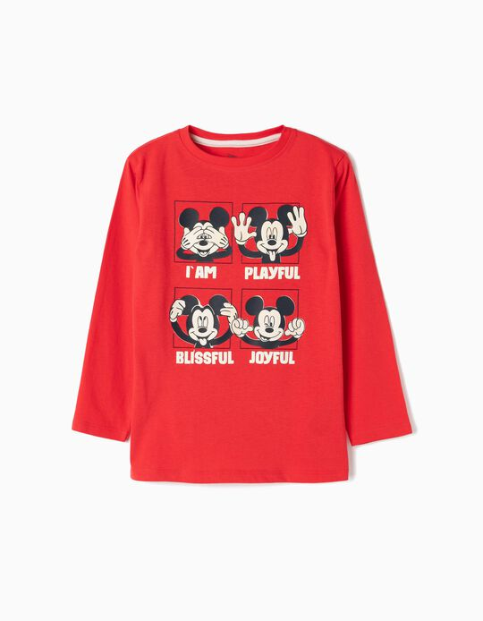 T-shirt Manga Comprida para Menino 'Mickey', Vermelho