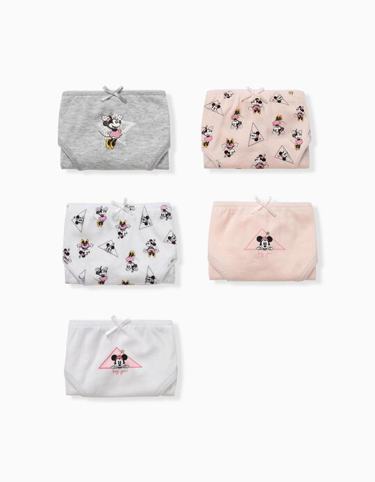 5 Braguitas para Niña 'Minnie', Rosa/Blanco/Gris