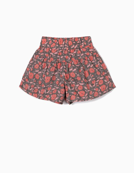 Shorts for Girls 'Flowers', Grey/Coral