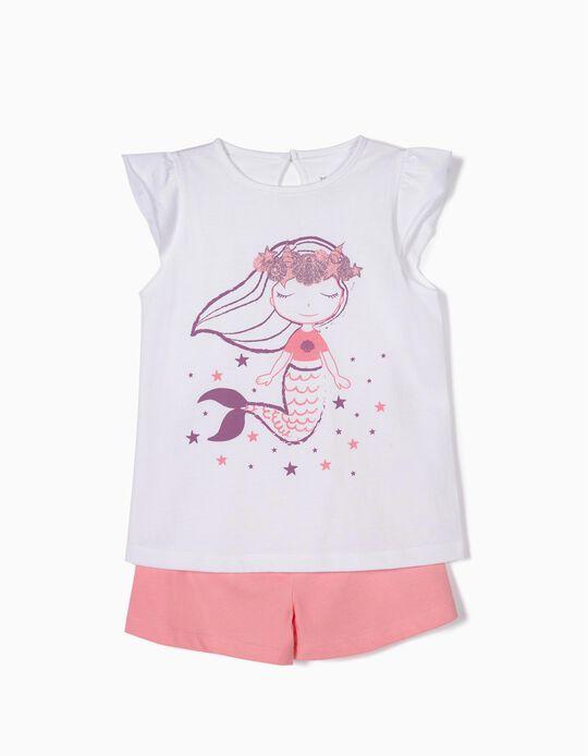 Pijama para Niña 'Mermaid', Blanco y Rosa