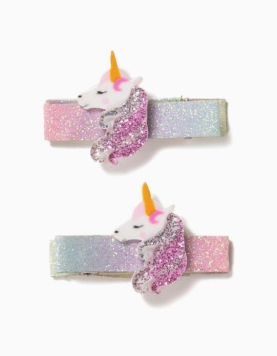 2 Pasadores del Pelo para Niña 'Unicorn', Rosa