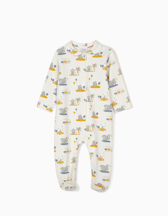 Sleepsuit for Newborn Baby Boys, 'Dumbo' White