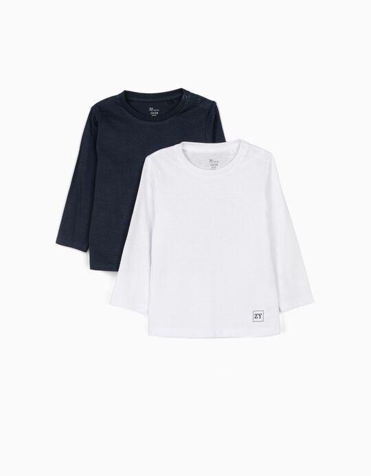 2 Camisetas de Manga Larga para Bebé Niño, Azul Oscuro/Blanco