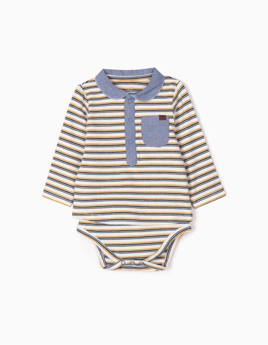 Body Polo para Recién Nacido 'Rayas', Blanco/Azul
