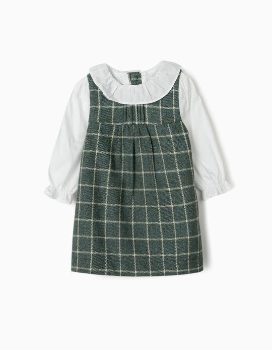 Vestido Combinado para Recém-Nascida 'B&S', Verde