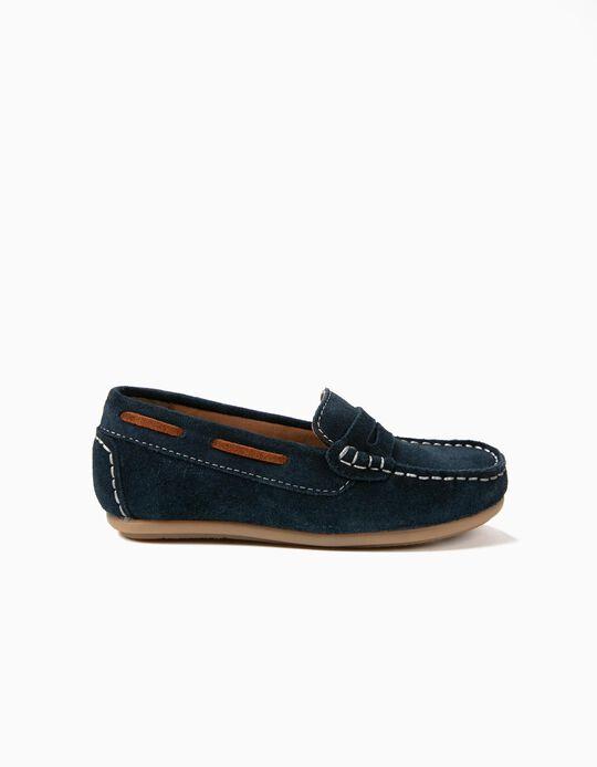Sapatos de Camurça para Menino 'Loafers', Azul Escuro