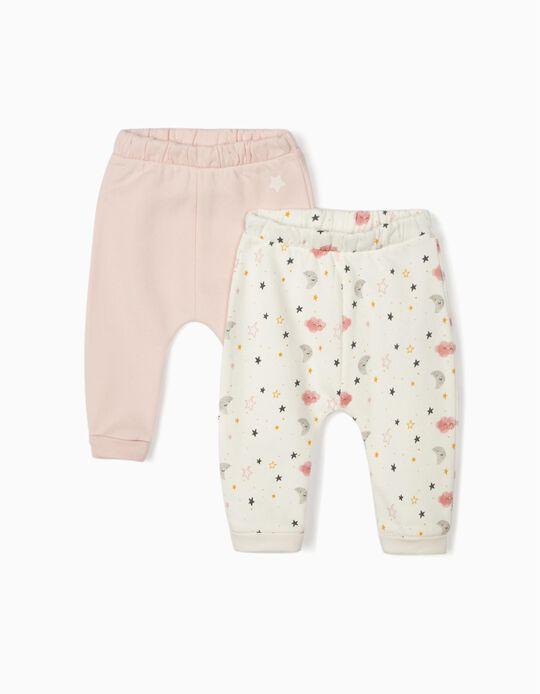 2 Pantalón para Recién Nacida 'Night Sky', Blanco/Rosa