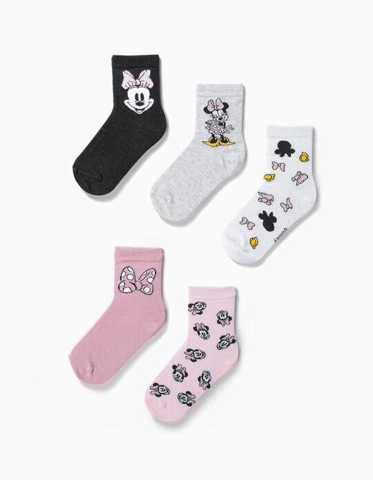 5 Pares de Calcetines para Niña 'Minnie', Multicolor