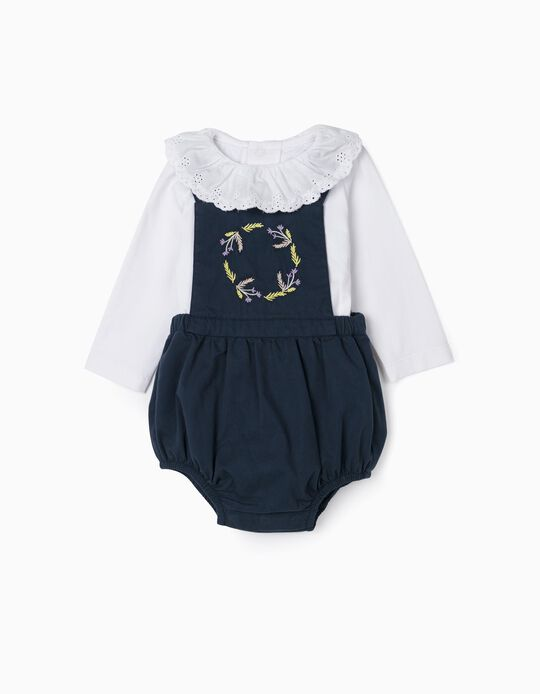 Embroidered Jumpsuit & Bodysuit for Newborn Baby Girls, Blue/White