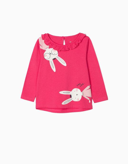 T-shirt Manga Comprida para Bebé Menina 'Cou Cou', Rosa