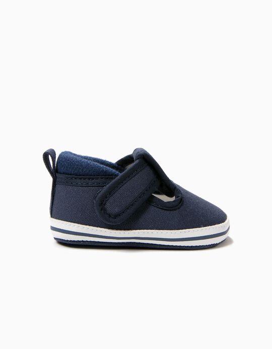 Zapatos para Recién Nacido con Cierre Autoadherente, Azul Oscuro