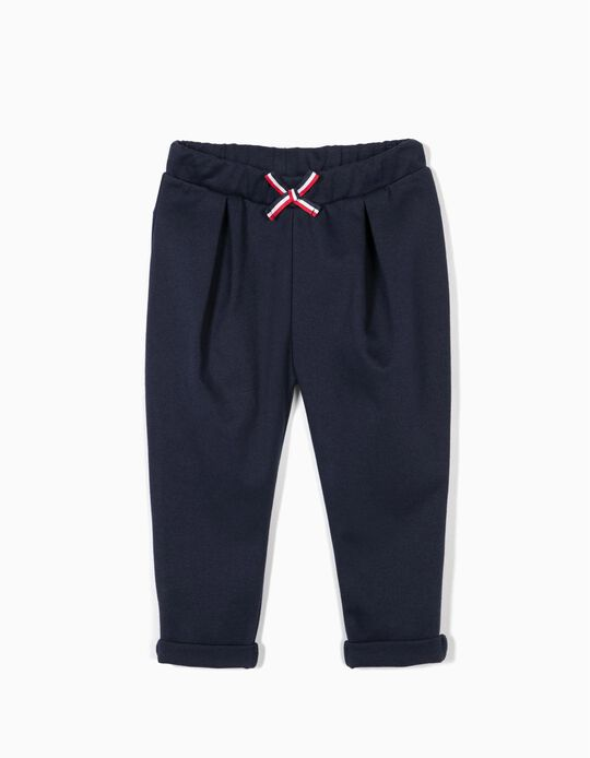 Pantalón para Bebé Niña con Lacito, Azul Oscuro