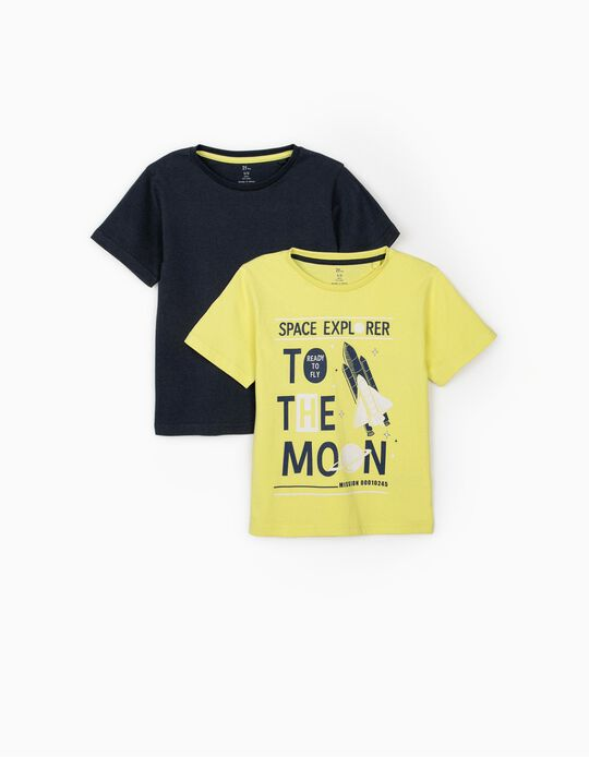2 T-shirts for Boys, 'Space Explorer', Lime Yellow/Dark Blue