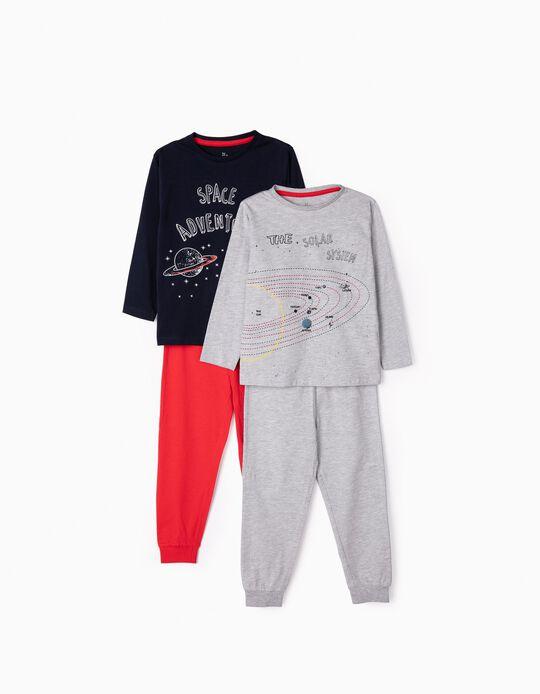 2 Pijamas para Niño 'Space', Gris/Azul/Rojo