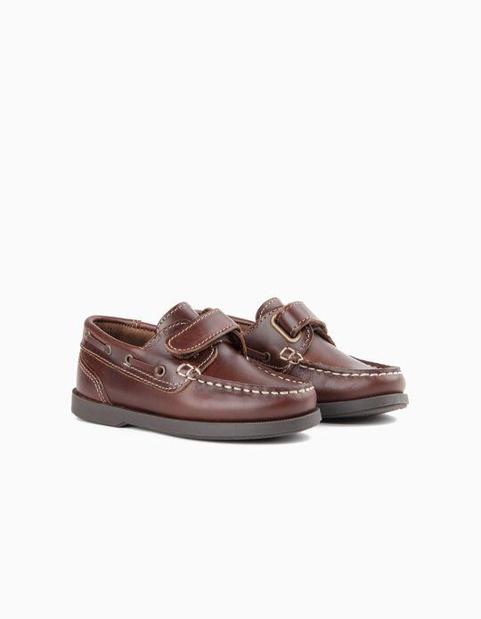 Sapatos Menino Vela Pele Castanhos