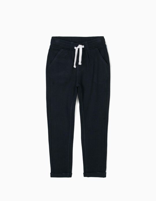 Piqué Knit Joggers for Boys, Dark Blue