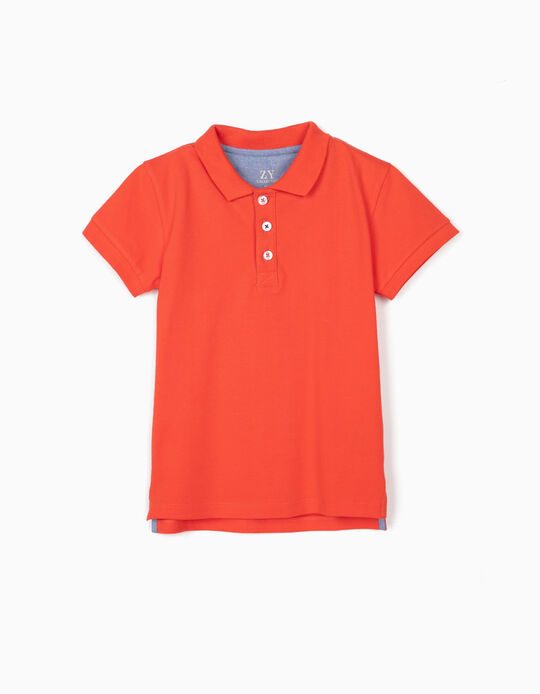 Piqué Knit Polo Shirt for Boys, Red