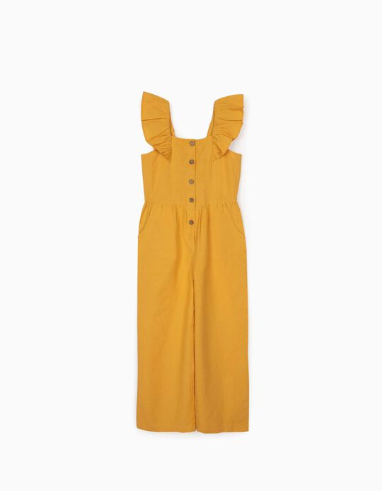 Jumpsuit with Linen for Girls, Yellow
