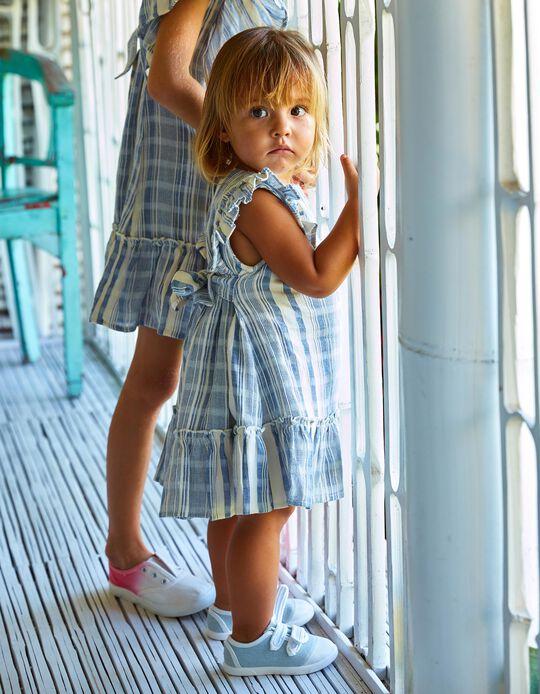 Robe et bloomer à rayures bébé fille 'B&S', bleu/blanc