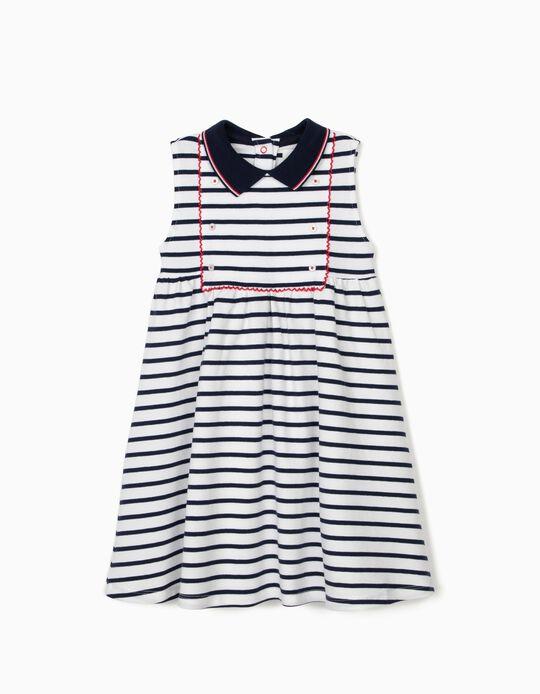 Vestido Piqué para Menina 'Sailor', Branco/Azul Escuro