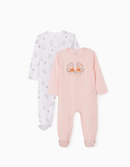 2 Sleepsuits for Baby Girls, 'Let's Dance', Pink/White