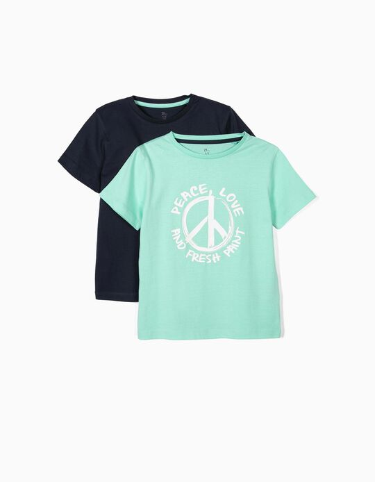 2 T-shirts para Menino 'Peace, Love & Fresh Paint', Verde e Azul