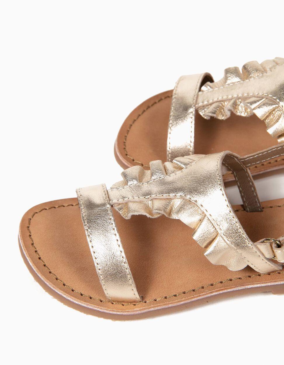 Sandálias Folhos Douradas