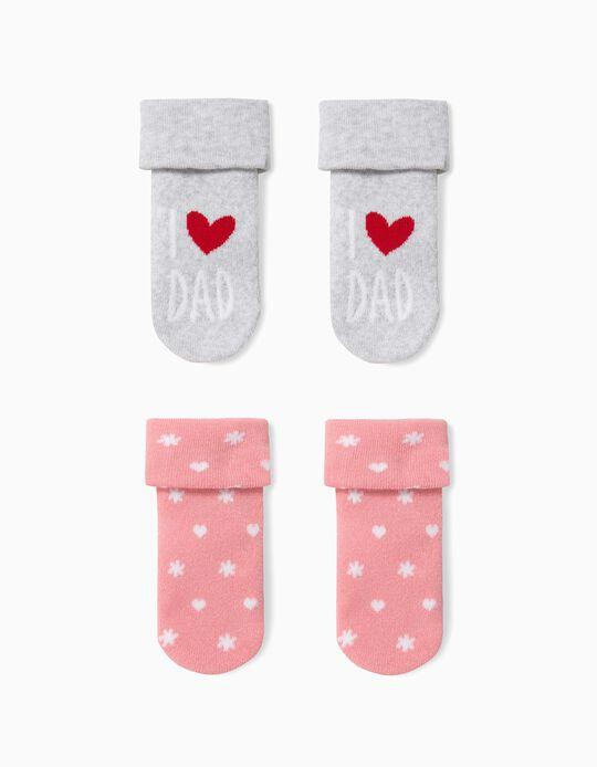 Pack 2 Calcetines para Bebé Niña 'Dad', Gris y Rosa