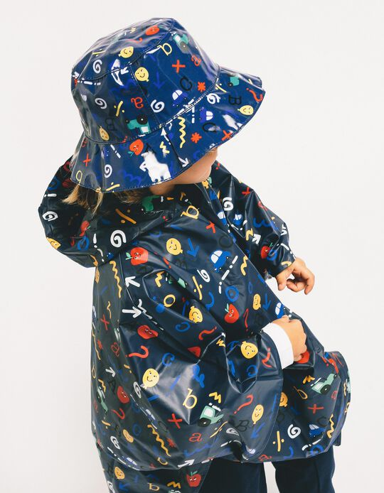 Rain Hat for Boys 'ABC', Dark Blue