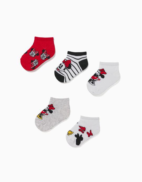 5 Pares de Calcetines Cortos para Bebé Niña 'Minnie', Multicolor