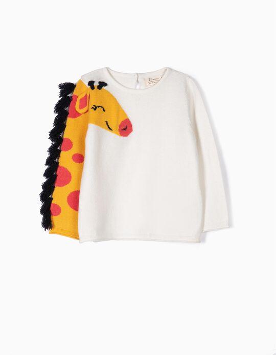 Camisola de Malha para Bebé Menina 'Girafa', Branco