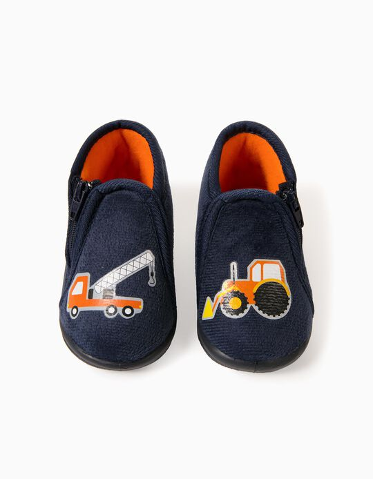 Slipper Boots for Baby Boys 'Tractor', Dark Blue