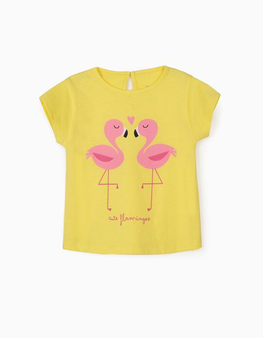 T-Shirt for Baby Girls, 'Cute Flamingos', Yellow