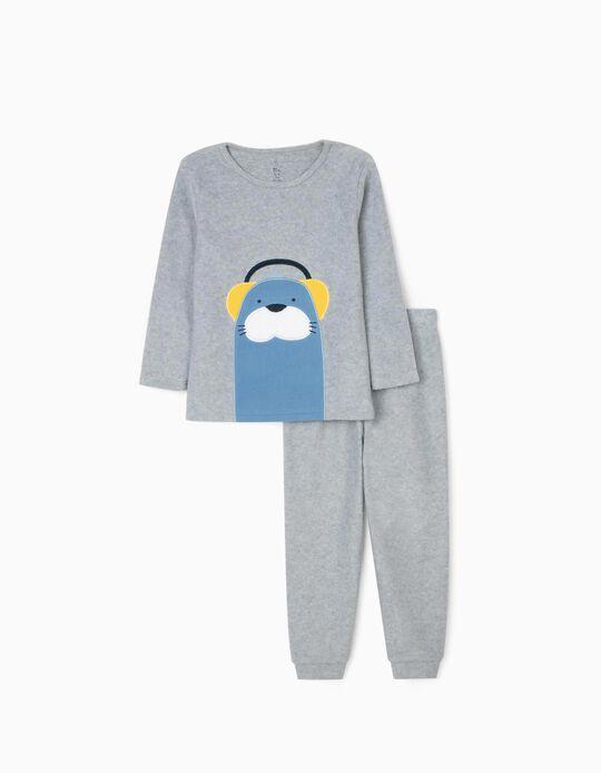Polar Fleece Pyjamas for Boys 'Seal', Grey