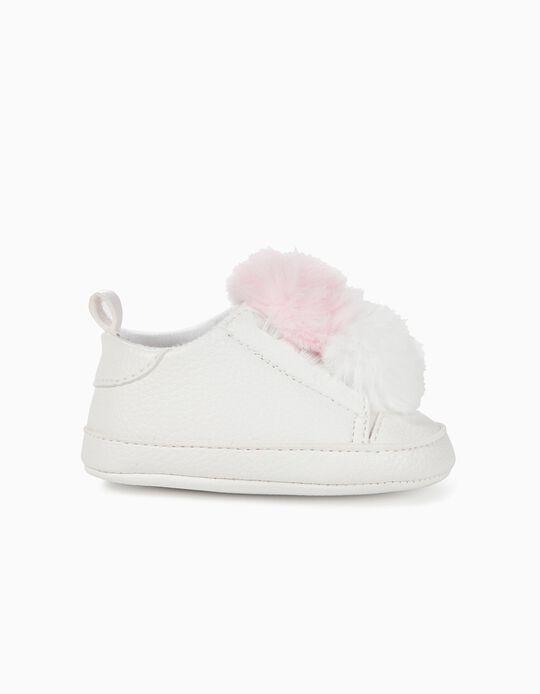 Zapatillas para Recién Nacida con Pompones, Blanco