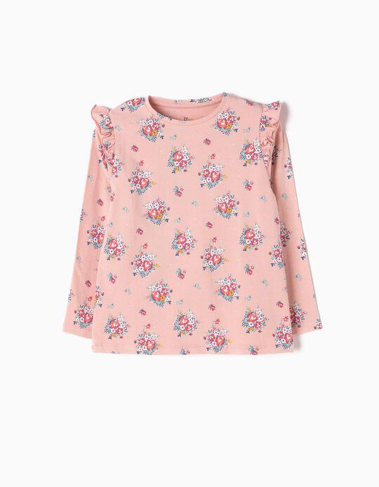 T-shirt Manga Comprida Rosa Flores
