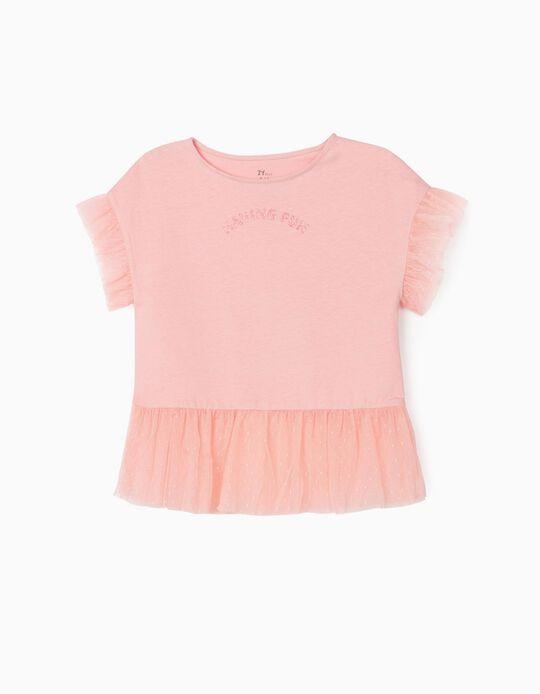 Camiseta con Tul para Niña 'Having Fun', Rosa