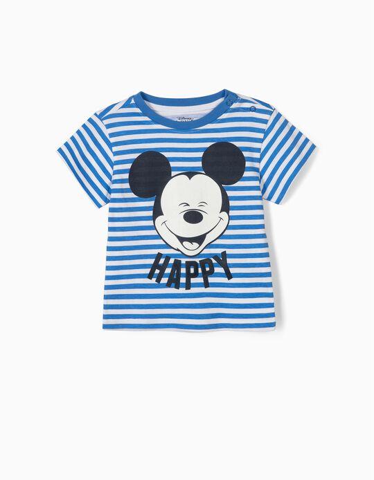 Camiseta para Bebé Niño 'Happy Mickey', Azul y Blanca
