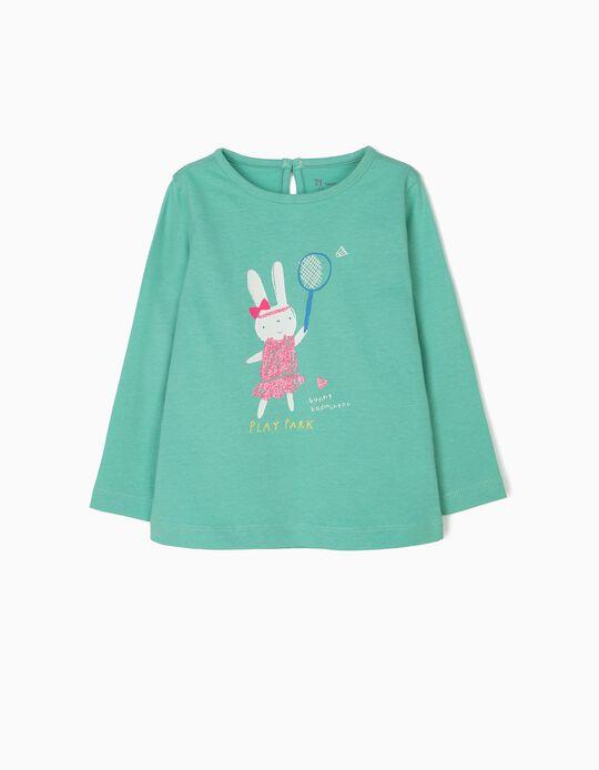 T-shirt de Manga Comprida para Bebé Menina 'Play Park', Verde