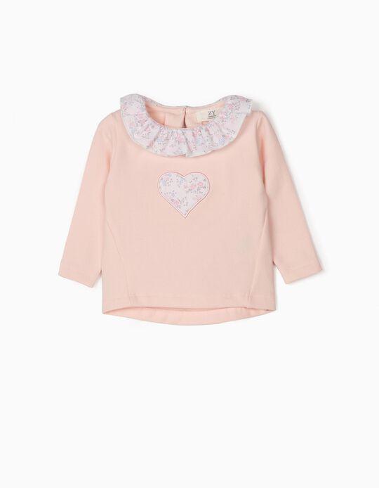 Sweatshirt para Recém-Nascida 'Flores', Rosa