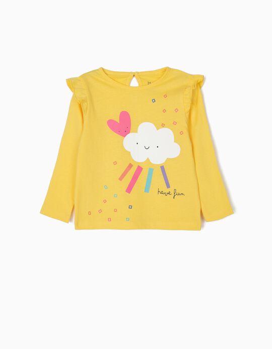 Camiseta de Manga Larga para Bebé Niña 'Have Fun', Amarilla