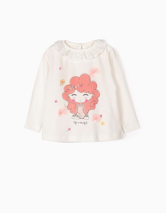 T-shirt Manga Comprida para Bebé Menina 'Life', Branco