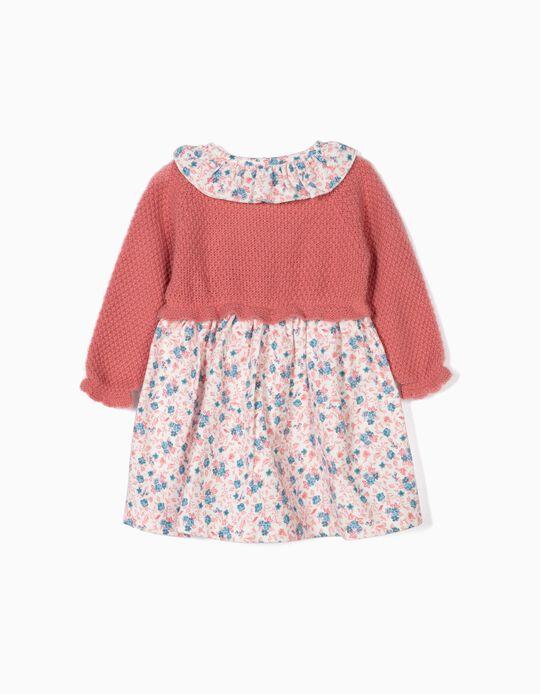 Vestido Combinado para Recém-Nascida Flores, Rosa
